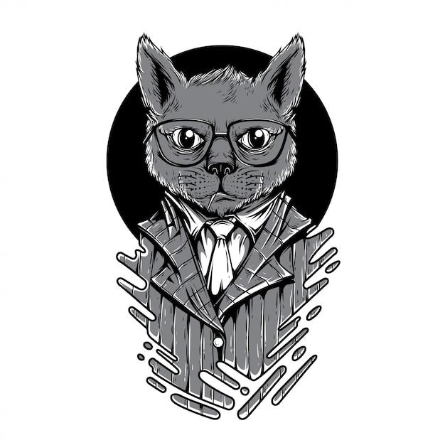 Night play cat black and white illustration Premium Vector