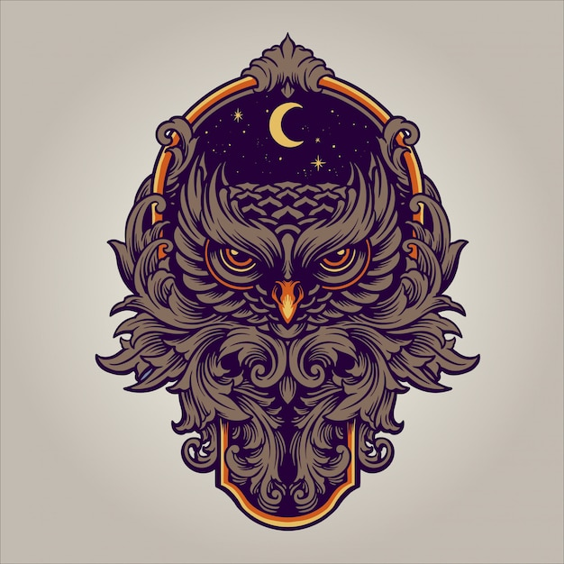 The night predator ornament Premium Vector