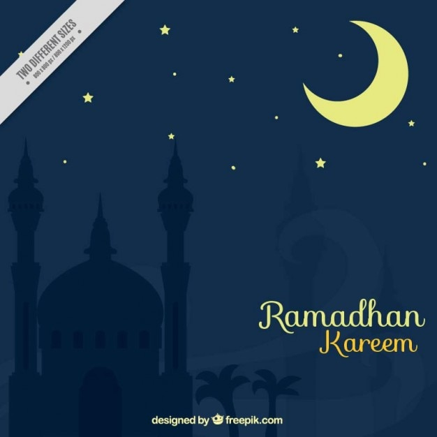 Night ramadan background with crescent moon Free Vector