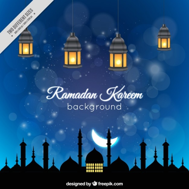 Night ramadan background with iluminated lanterns Vector | Free Download
