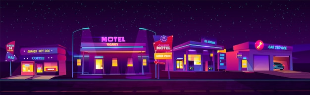 Night roadside motel with parking, oil station, burger and coffee bar and car service glowing Free Vector