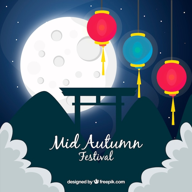 Night scene for mid autumn festival