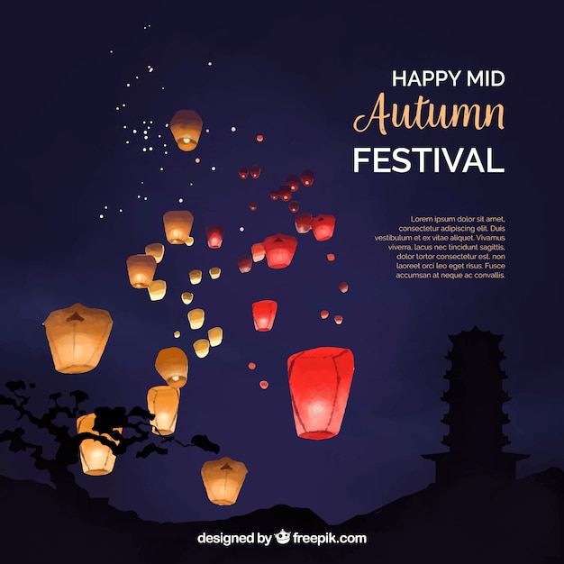 Night scene, mid autumn festival