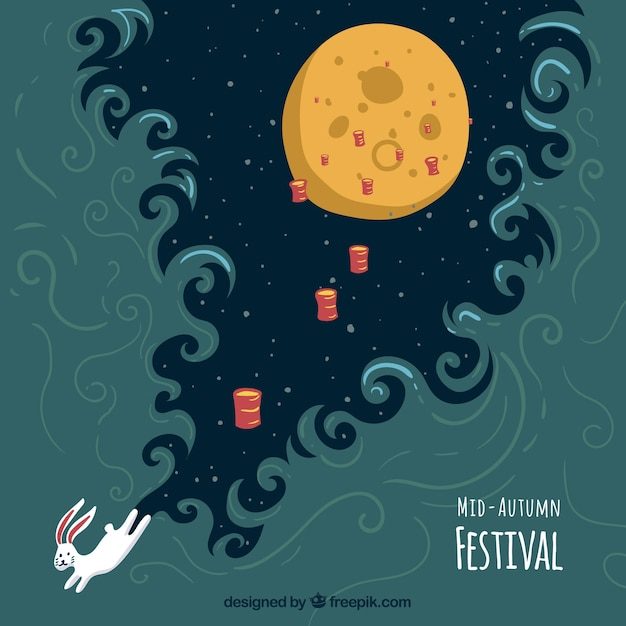 Night scene with a full moon and a rabbit, mid autumn festival