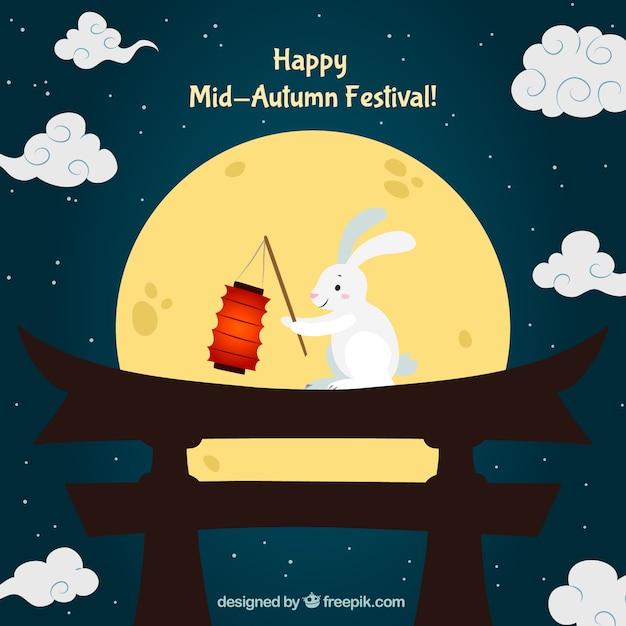 Night scene with a rabbit, mid autumn festival