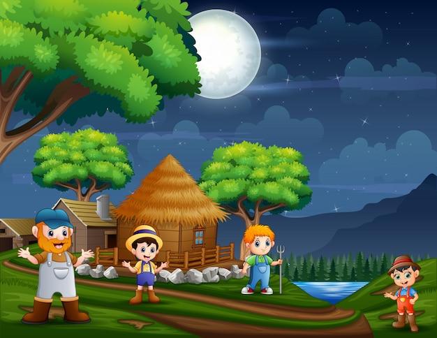 Night scene with farmers at the farmland Premium Vector