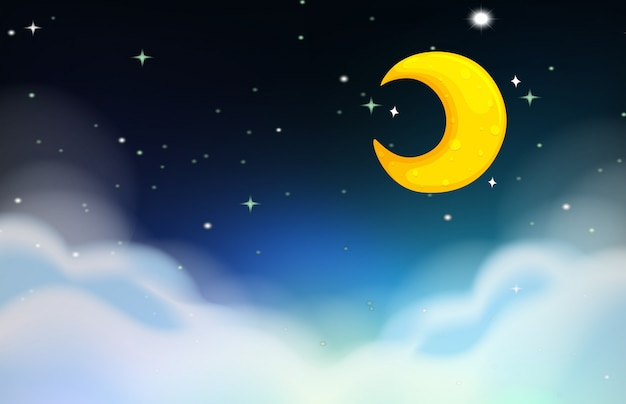Night scene with moon and stars Free Vector