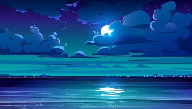 Ночной морской пейзаж с береговой линией и луной в небе Бесплатные векторы