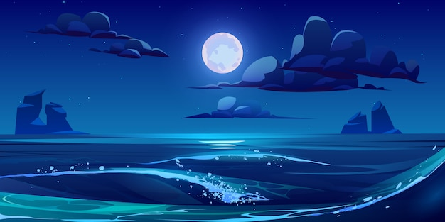 Night sea landscape with moon, stars and clouds Free Vector