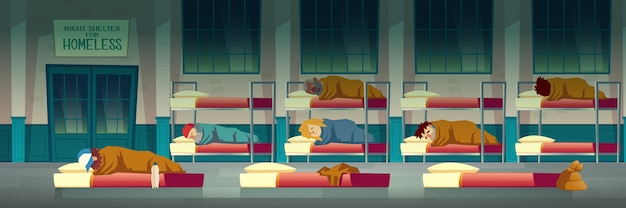 Night shelter for homeless people Free Vector