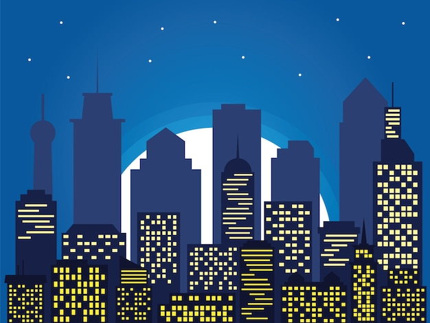 Night silhouette of the city and full moon with stars, cartoon style Premium Vector