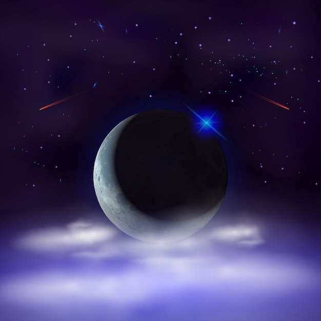 雲の後ろに隠された半月の夜空の背景。 Premiumベクター
