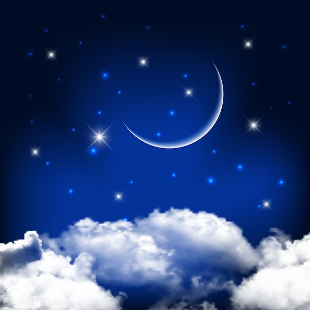 night sky background with moon above clouds vector