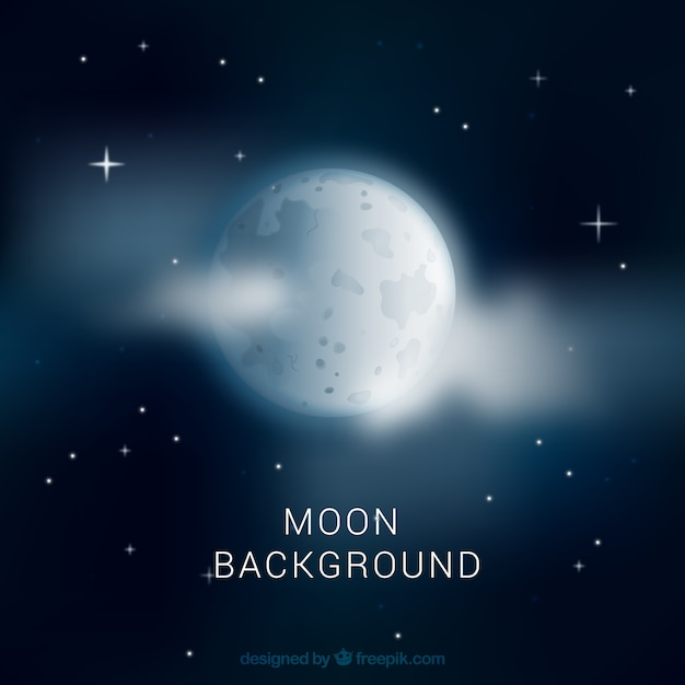 night sky background with moon and clouds vector free