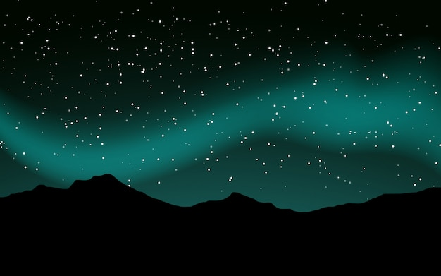 Premium Vector Night Sky Full Of Stars With Mountain Silhouette