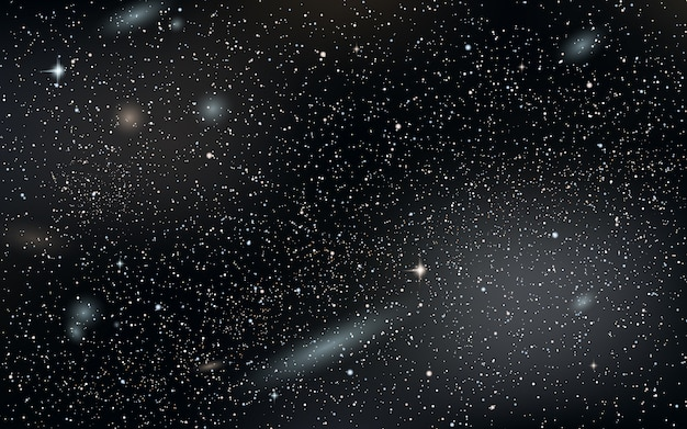 Night sky vector background with stars, nebula and galaxies Premium Vector