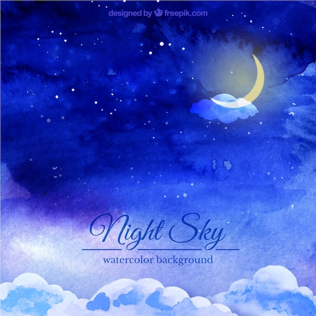 Night sky watercolor background Free Vector