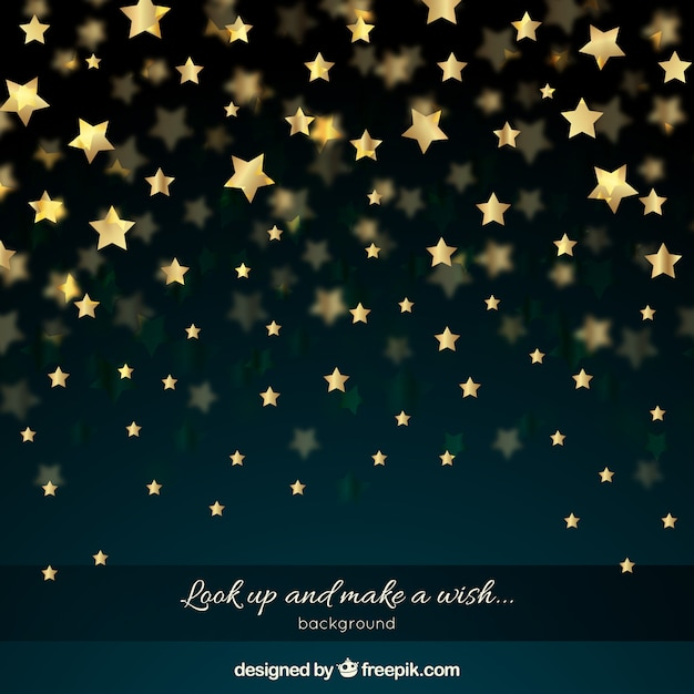 Night sky with golden stars Free Vector