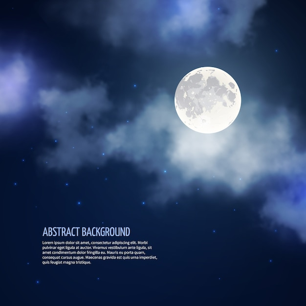 Night sky with moon and clouds abstract background. romantic bright nature, moonlight and galaxy, vector illustration Free Vector