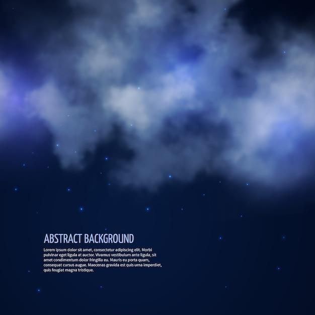 Cielo notturno con stelle e nuvole sfondo astratto. spazio senza luna, illustrazione vettoriale Vettore gratuito