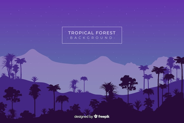 Night sky with tropical forest silhouettes Free Vector