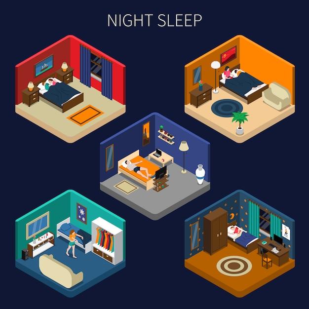 Set di scene isometriche del sonno notturno Vettore gratuito