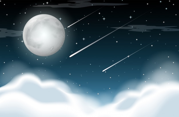 Night time background scene Free Vector