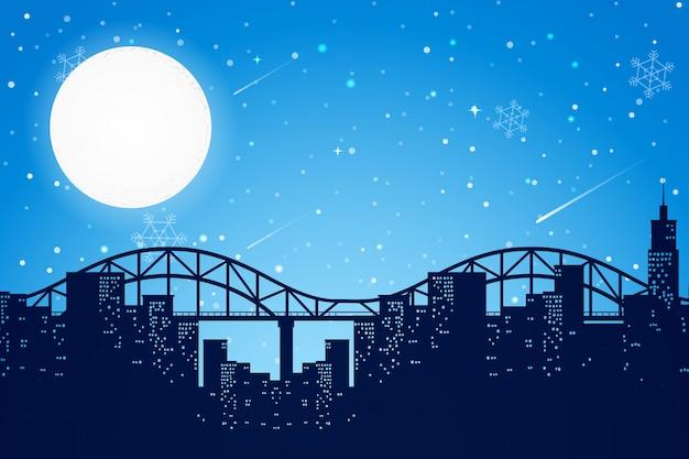 Night time city scene Premium Vector