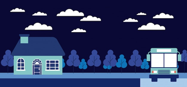 Night trees house stop bus Free Vector
