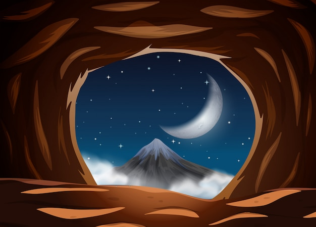 Night view from the cave Premium Vector