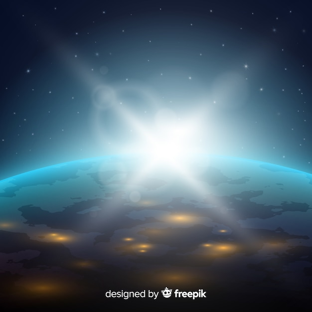 Night view of planet earth with realistic design Free Vector