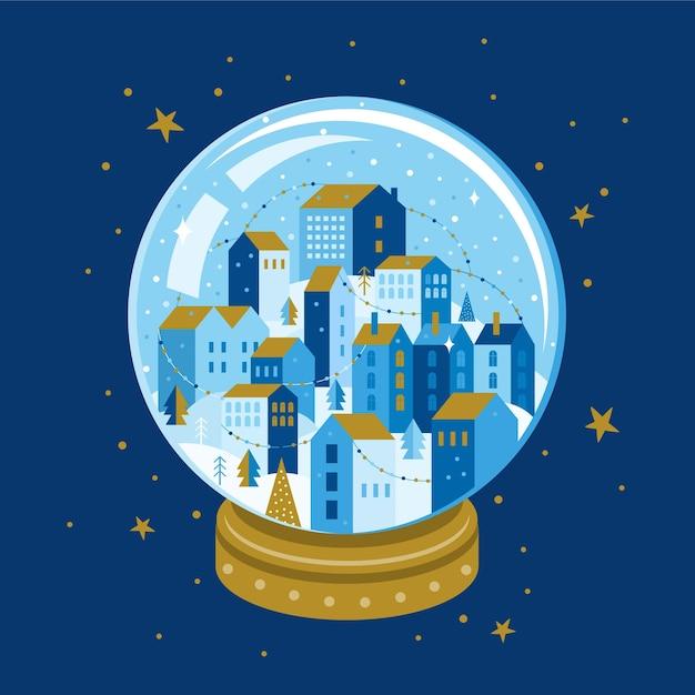 クリスマスのガラス玉の中の夜の冬の街の風景。幾何学的なスタイルで木と家とクリスマススノーボール Premiumベクター