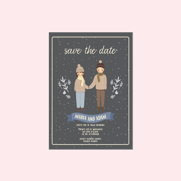 Night winter couple illustration save the date invitation Premium Vector