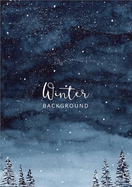 Night winter watercolor landscape background Premium Vector
