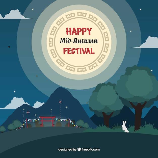 Night with full moon, mid autumn festival