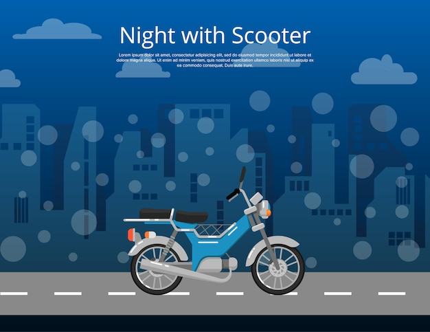 Night with scooter poster in flat style Premium Vector