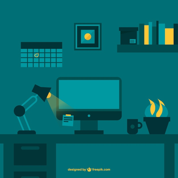Night working office space flat vector Free Vector