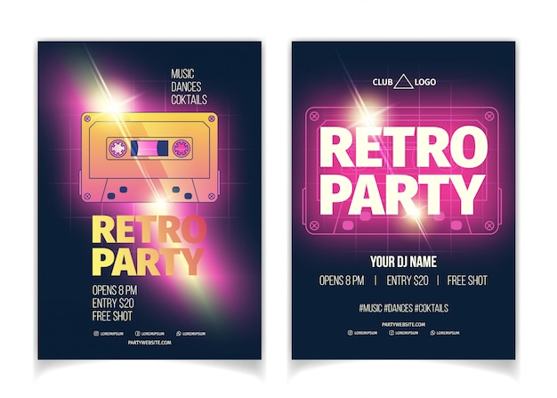 Nightclub retro music party poster or flyer template cartoon vector advertising Free Vector