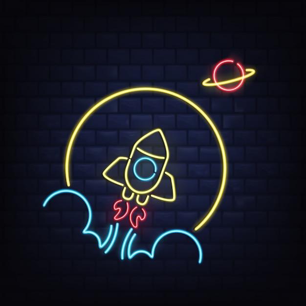 Nightclub retro neon signboard r Free Vector