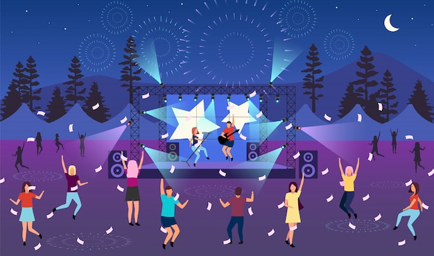 Nighttime music festival   illustration. open air live performance. rock, pop musician concert, party in park, camp. summertime fun outdoor activity. dancing cartoon characters Premium Vector
