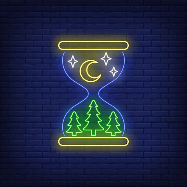Nighttime neon sign Free Vector