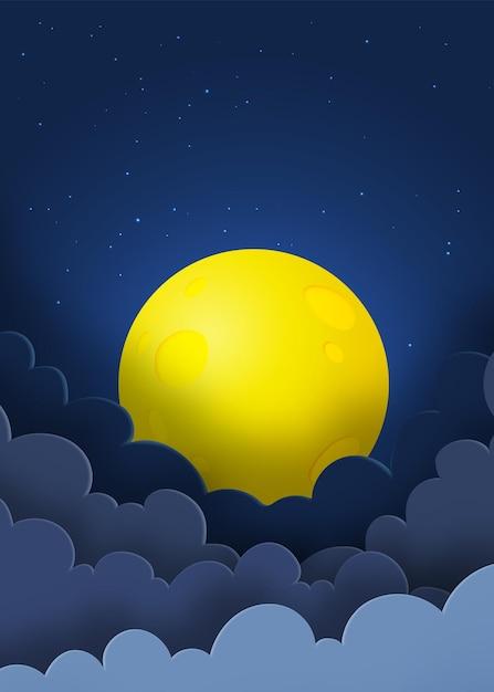 Ночное небо с полной луной Premium векторы