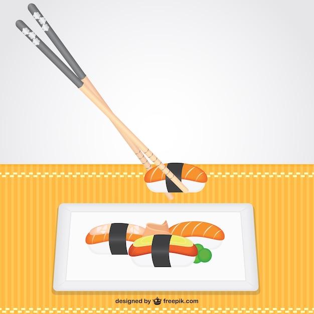 Nigiri plate and sticks Free Vector