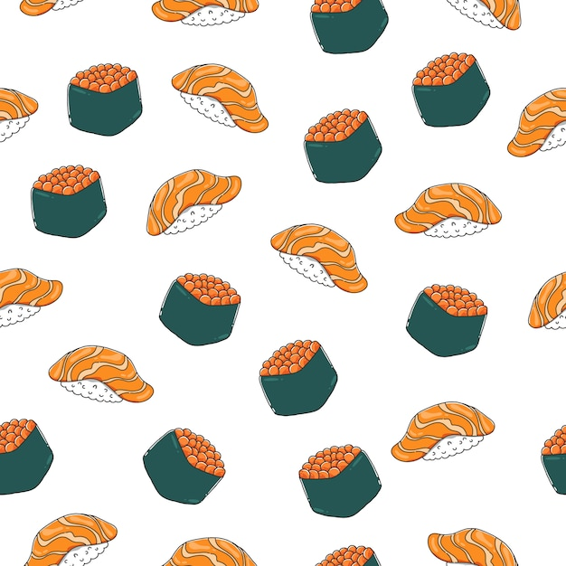Nigiri sushi seamless pattern with outline. Premium Vector