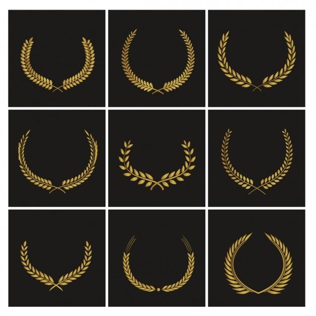 Nine badges for awards Free Vector