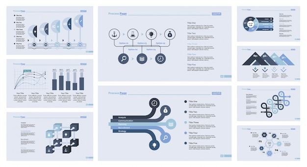Nine business slide templates set Free Vector