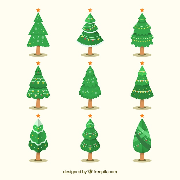 nine christmas trees in different shapes free vector - Different Christmas Trees