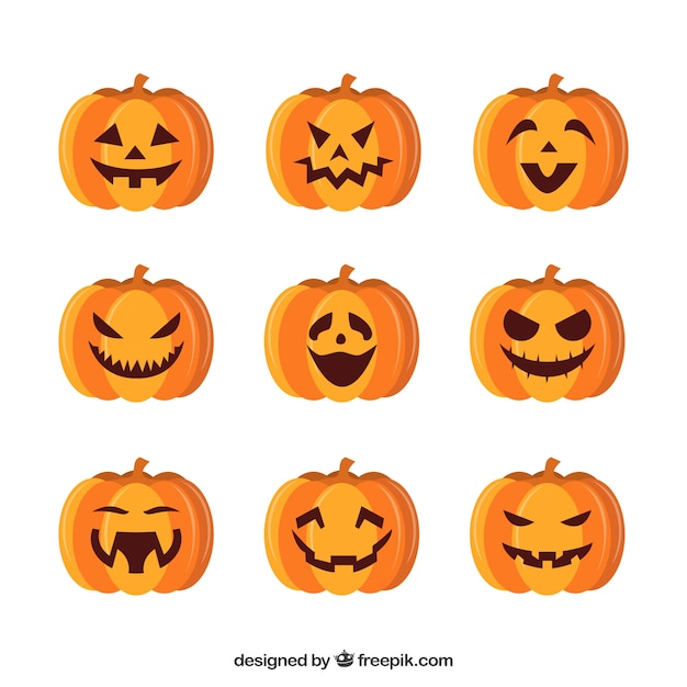 Nine different emotions of halloween pumpkin Free Vector