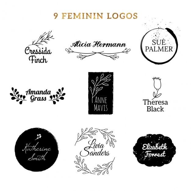 Nine Feminine Logos Free Vector