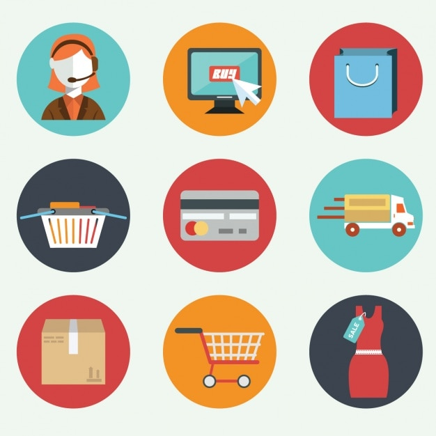 Nine flat elements about e commerce Free Vector